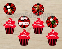 Kung Fu Panda cupcake topers, Kung Fu Panda Party, Kung Fu Panda Birthday, Kung Fu Panda Decor, DIGITAL DOWNLOAD