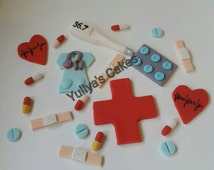 20 Edible doctor/nurse/medical/hospital  cake/cupcakes toppers,handmade decoration,shipped from Ireland