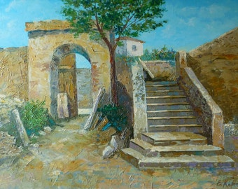 Greek Landscape Painting   Painting for office   palette knife   Original Oil Painting on Canvas   FRAMED   Pastel Painting for bedroom