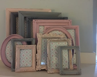 Gray & Pink Shabby Distressed Chic Nursery/Wedding Picture Frames, Set Of 6, MADE TO ORDER