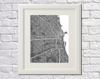 Chicago Street Map Print Map of Chicago City Street Map Illinois Poster City Art 7002
