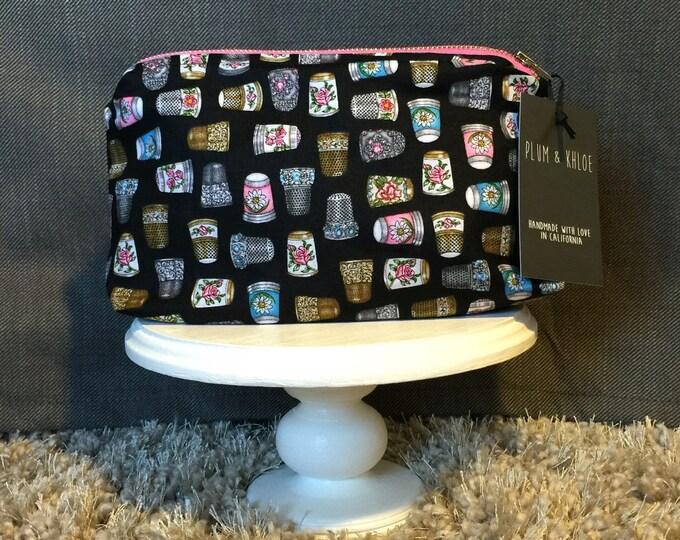 Decortive Thimble Bag | sewing motif | make-up bag,Zipper Pouch Bag, fun bag, money bag, cosmetic bag, everything bag, Plum and Khloe Design