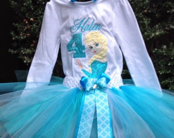 Frozen Elsa 4th Birthday Outfit Onesie Tutu and FREE Hair Bow Personalized Turquoise White Yellow