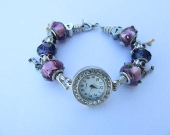 Beaded Bracelet Wrist Watch,Purple/Lavender