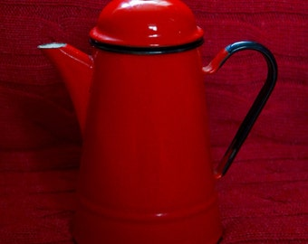 Vintage Red Enamel Teapot Made In Poland Enamelware