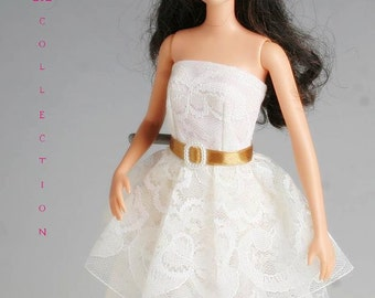 Barbie clothes, White lace wedding dress