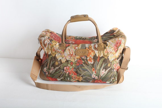 Vintage Tapestry Floral Tote Carry On Bag