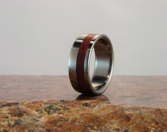 Pink Ivory wood and Titanium ring, wood inlay ring, metal and wood ring, wedding band, exotic hardwood inlay ring