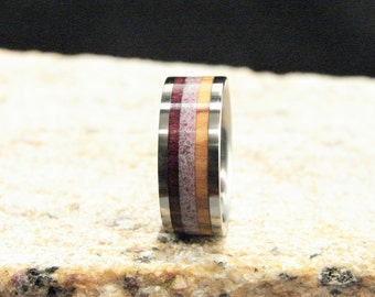 Purpleheart,Olive Wood and Purple Jasper stone inlay ring, Triple inlay ring, Purple Jasper stone and wood inlay ring, Titanium ring