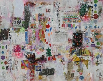 Boys ans girls,abstract painting,peinture abstraite,wall art,collage,mixed media,Oeuvres d'art contemporain