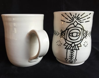 Evil Eye Geometric Mug Handpainted on Porcelain
