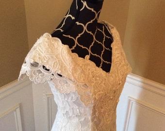 Vintage ivory wedding dress/Jessica McClintock/size6/pearls/beads/lace/tea length