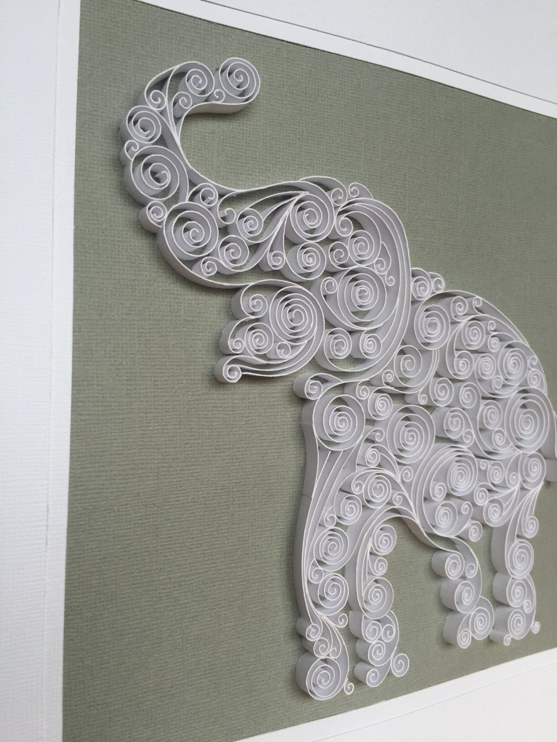 Quilled Elephant Silhouette Paper Art