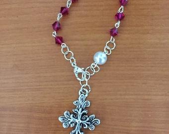 Ruby (July Birthstone) Bracelet Rosary
