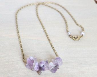 Amethyst Bronze Necklace - Simple, Boho, February Birthstone, Gemstone, Bohemian