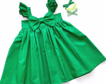 Emerald Green ! Girls Heirloom dress, Special Occasions, Church, Wedding! NOT Include the BOWS !