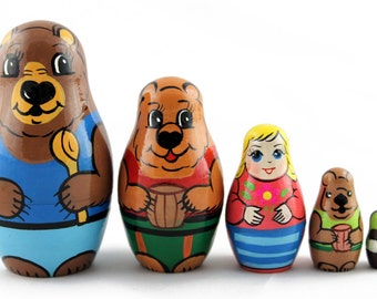 Matryoshka Matreshka Russian Nesting Doll Babushka Goldilocks and the Three Bears Zlatovlaska Set 5 Pieces
