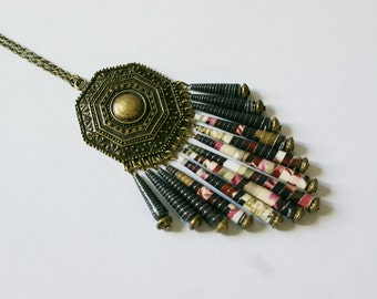 Long necklace - Ethnic - Bohemia - Black Kiss - paper pearl hand-made