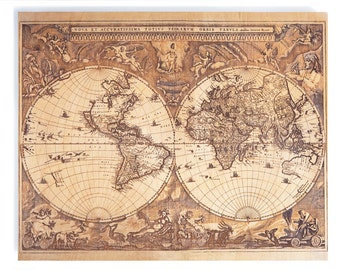 Beautiful 17th Century Map Laser-Etched on Wood