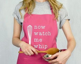 Watch Me Whip Apron - Funny Apron - Women's Apron - Men's Apron - Bake Off - Bakers Gift - Bakers Apron [BAPRN-003]