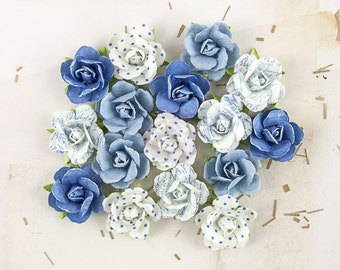"Prima Melbourne ""Harbour"" 577520 Blue Purple with varying patterns Petite Rose Bud Paper Flowers. Scrapbooking Embellishment Supplies"