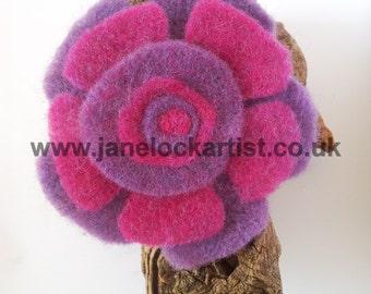 Felt Flower Brooch - Bright Pink & Dark Purple