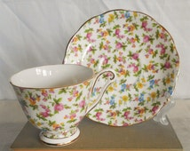Vintage Mid Century Queen Anne Bone China Chintz Cup and Saucer, Pattern 5815