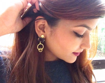 Brown Smoky Quartz Earrings with Tiny Rhinestones, Cubic Zirconia Earrings, Minimalist Earrings, Bridesmaid Gifts