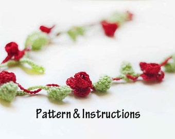 Crochet Necklace Pattern, Crochet Flower Necklace Pattern, Crochet Pattern, Instructions, Accessories, Necklace, Boho