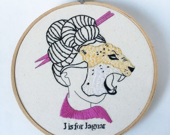 Hand Embroidery Pattern, Embroidery Pattern, J is for Jaguar PDF