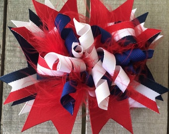 Red white & blue, OTT, large hair bow, over the top bow, america, patriotic bow, big hairbow, pageant hair bow, 4th of July, girls hair bow