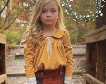 Fall top, girls knit top, long sleeve top, mustard top