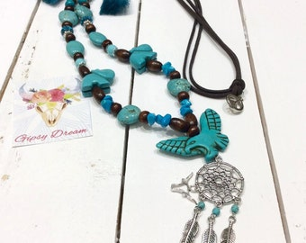 Necklace turquoise Dream catcher