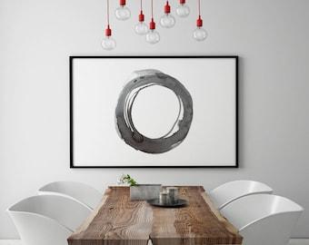 Enso, Abstract Printable Art, Contemporary Art, Watercolor Abstract Art, Horizontal Print, Horizontal Art, Zen Wall Art, Black White Art