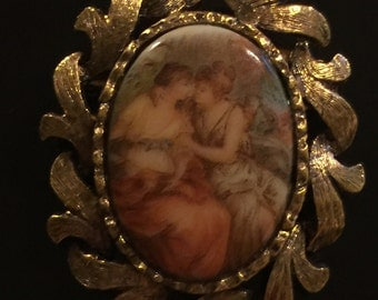 Beautiful Antique Painted Brooch
