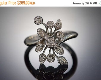 1 Day Sale 10K 0.20 Ctw Diamond Floral Ring Size 7 White Gold