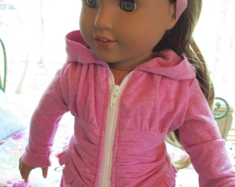"""Lavender Purple Ruched Doll Hoodie to fit your 18"""" American Girl Doll"""