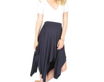 Raw Edge Shark-Bite  Midi Skirt