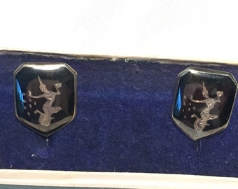 Vintage Sterling Silver Siam cuff links