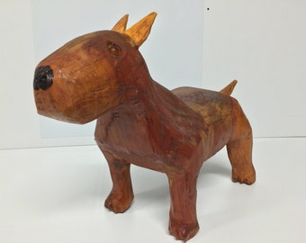 Bull terrier wood carving