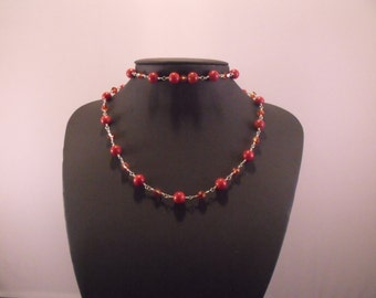 Red Coral And Swarovski Crystal Sterling Wire Wrap Necklace