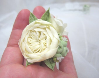 Bridal hair flower - ivory Peony rose, bridal flowers hair, wedding hair flowers, bridal hair pin, bridal hair accessory, clay succulents