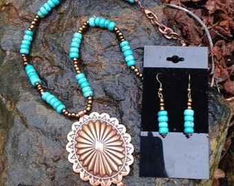 Copper Concho Pendant Necklace and Earrings