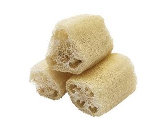 Natural Loofah Exfoliating Bath Body Sponge Scrubber (3-Pack) Handmade by Hide & Drink