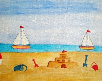 Colourful Seaside sandcastle blank greeting card original design