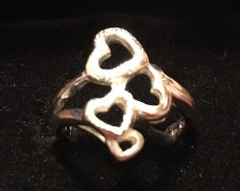 Vintage 1990s Sterling Silver Quadruple Heart Ring... Side: 7.5