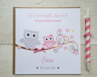 Personalised Baby Shower Card with Pink Owl - Mum to be, Mummy to be, Mother to be (LB032)