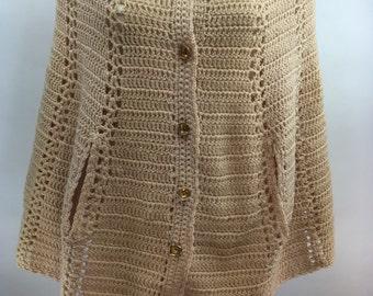 Vintage Beige Knit Poncho