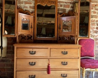 Stunning Antique Large Satin Walnut Chest Of Drawers Dresser 19th Century