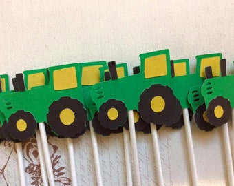 12 Green and Yellow Tractor Cupcake toppers Baby Shower/Birthday Party Decorations